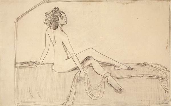 Танцовщица Ида Рубинштейн. 1910 Эскиз портрета (1910, ГРМ) Бумага, графитный карандаш. 26,5 × 42,3. ГТГ